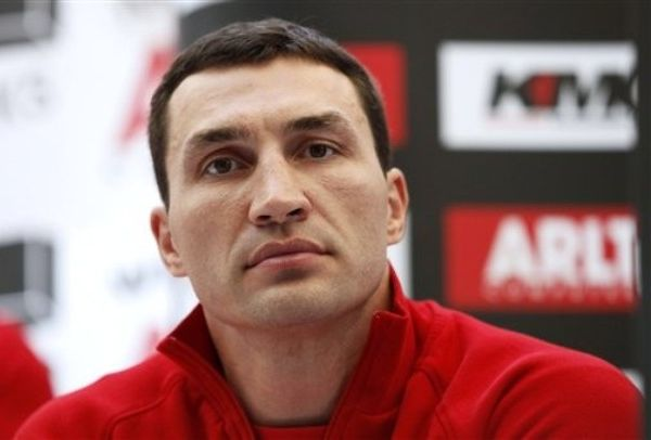 CORRECTS NAME OF BOXING FEDERATION - Wladimir Klitschko from the Ukraine looks on during a news conference in Frankfurt, Germany on Monday, Sept. 6, 2010. IBF, WBO and IBO heavyweight Champion Wladimir Klitschko will try to defend his title against Samuel Peter of Nigeria in Frankfurt, Germany, on upcoming Saturday. (AP Photo/dapd, Mario Vedder)